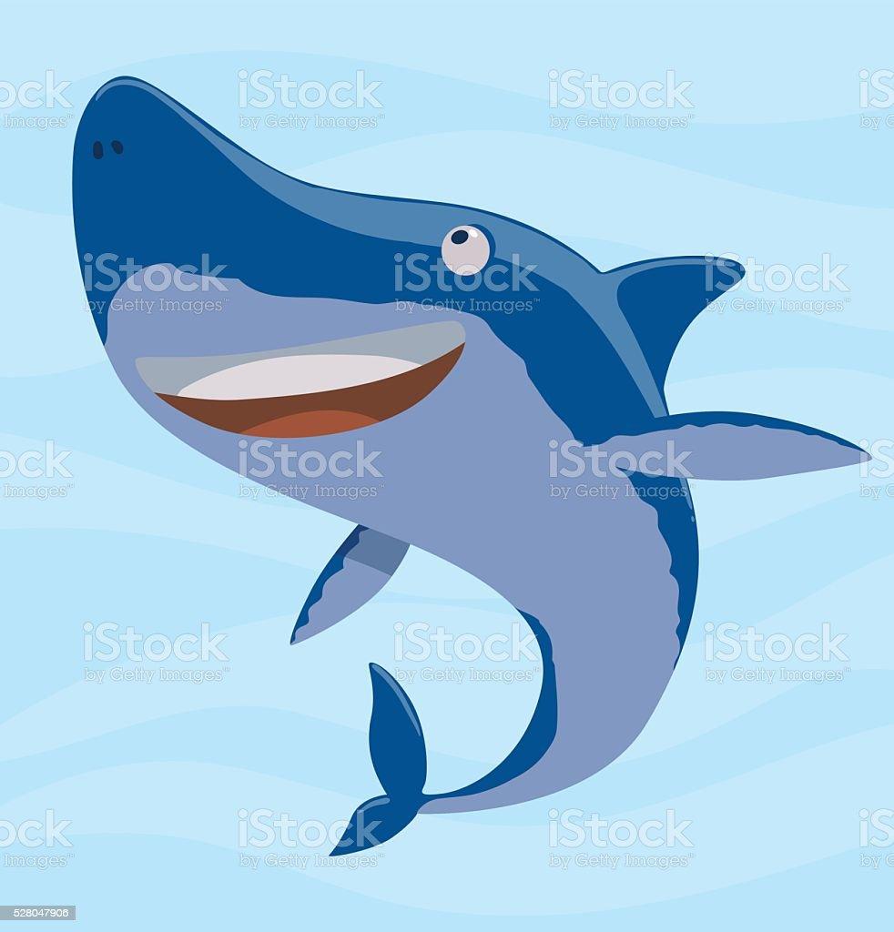 Funny cute blue shark vector art illustration