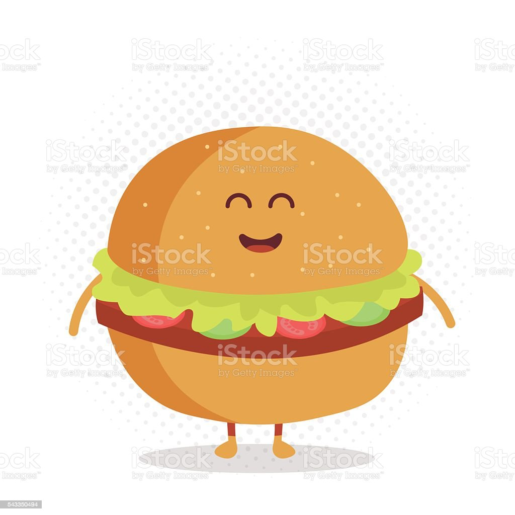 Funny cute burger drawn with a smile, eyes and hands. vector art illustration
