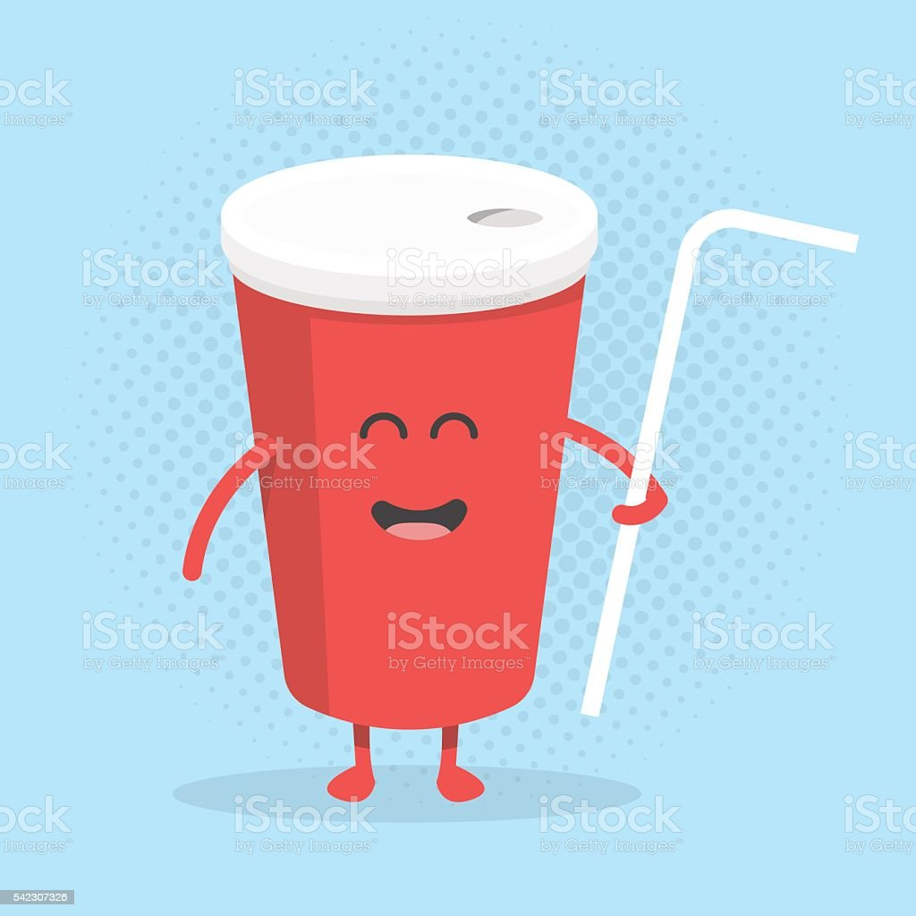 Funny cute cola cup with a smile, eyes and hands. vector art illustration