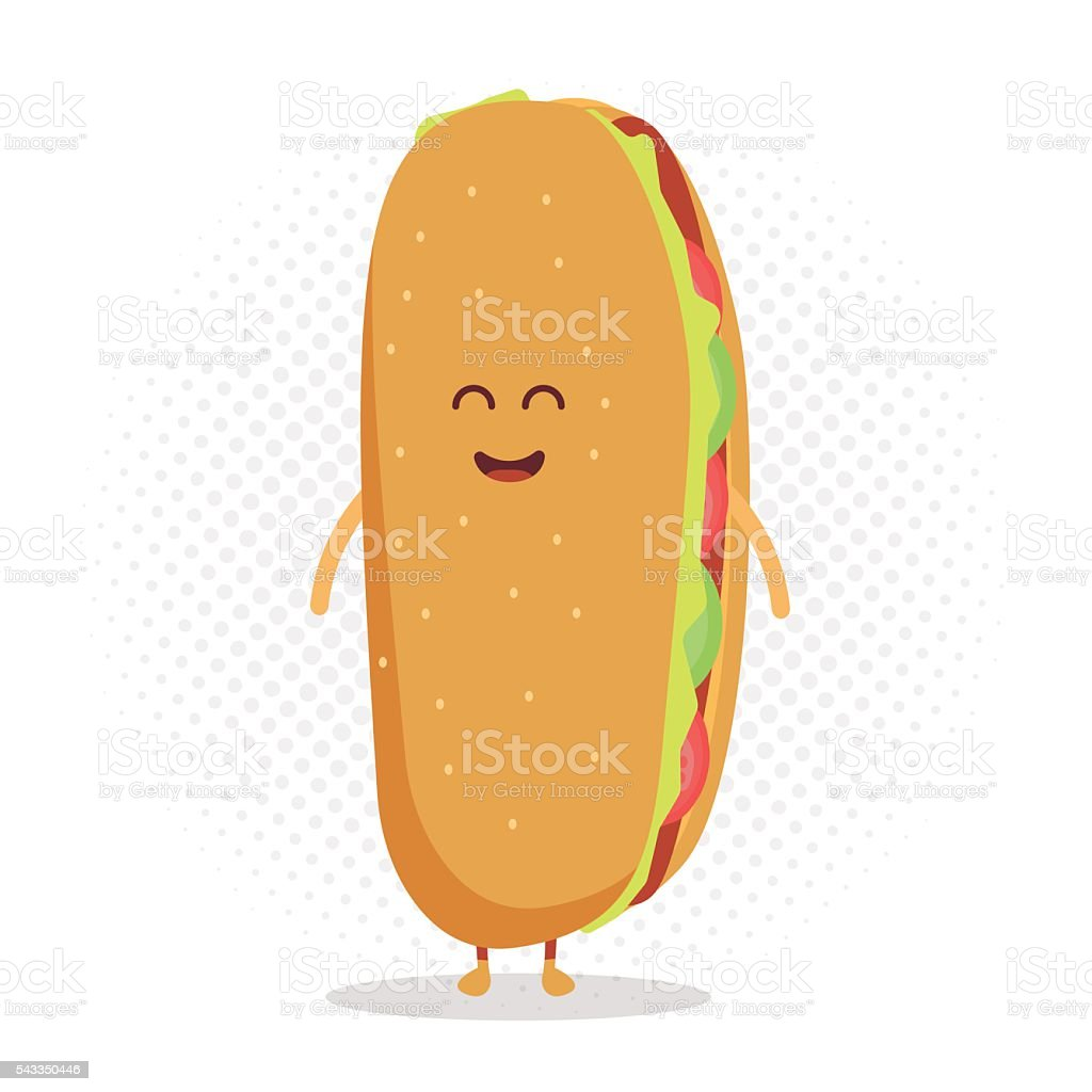 Funny cute hot dog with a smile, eyes and hands. vector art illustration