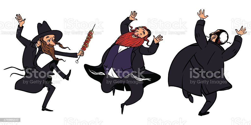 funny dancing jewish men vector art illustration