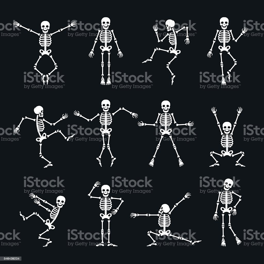 Funny dancing skeleton set vector art illustration