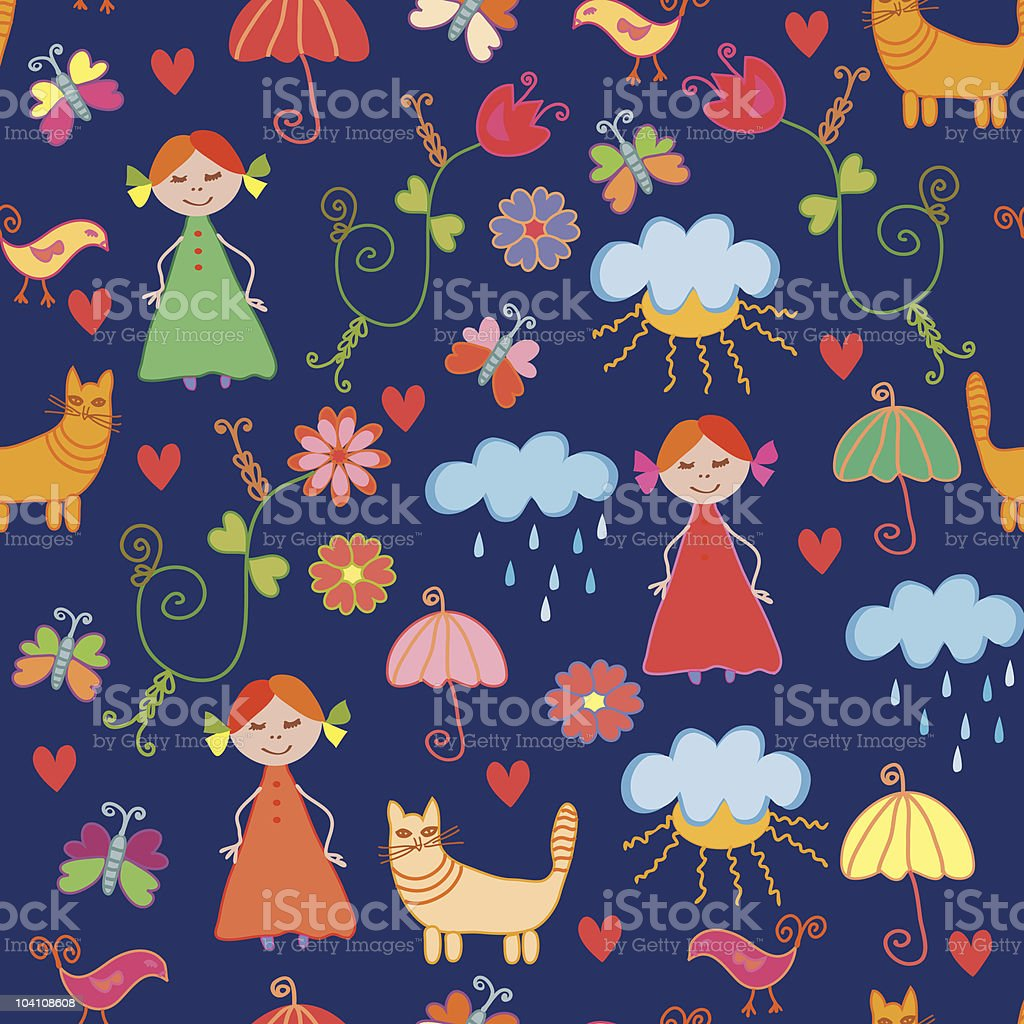 Funny dark seamless pattern with child,  cats, rain and sun royalty-free stock vector art