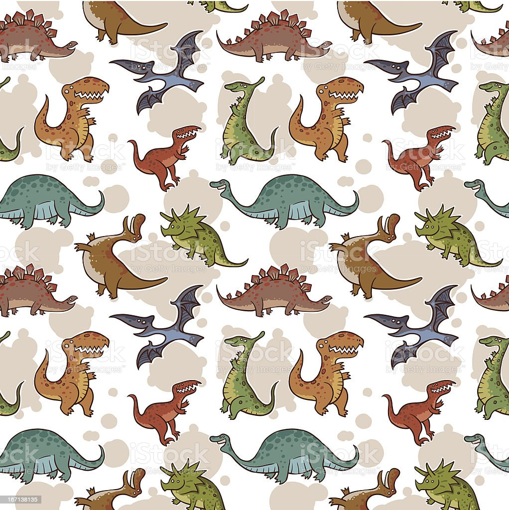 Funny dinosaur seamless pattern royalty-free stock vector art