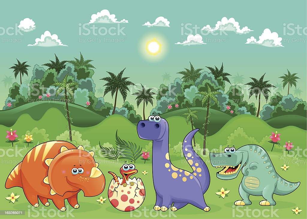 Funny dinosaurs in the forest. royalty-free stock vector art