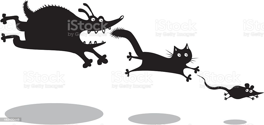 Funny dog, cat and mouse royalty-free stock vector art