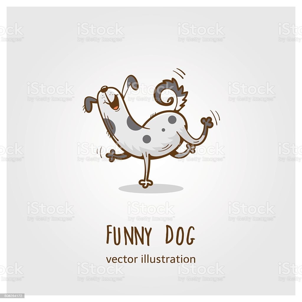 Funny dog  logo. vector art illustration