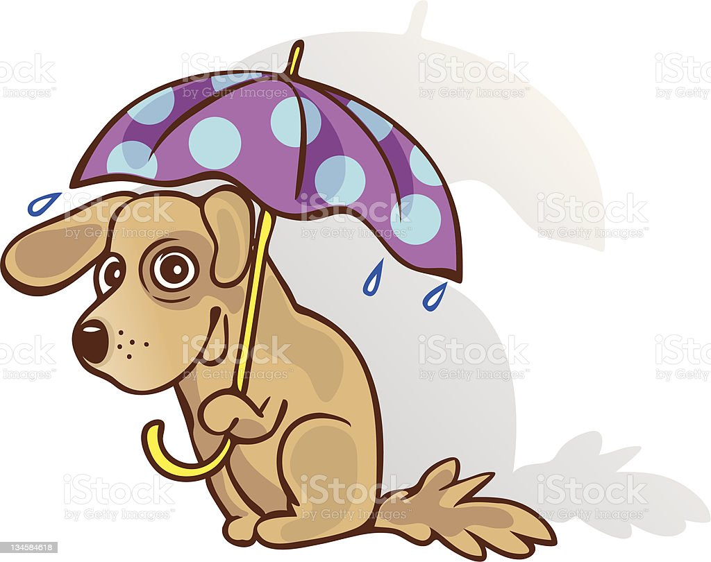 Funny dog under an umbrella. The method of protection. Guessed. vector art illustration