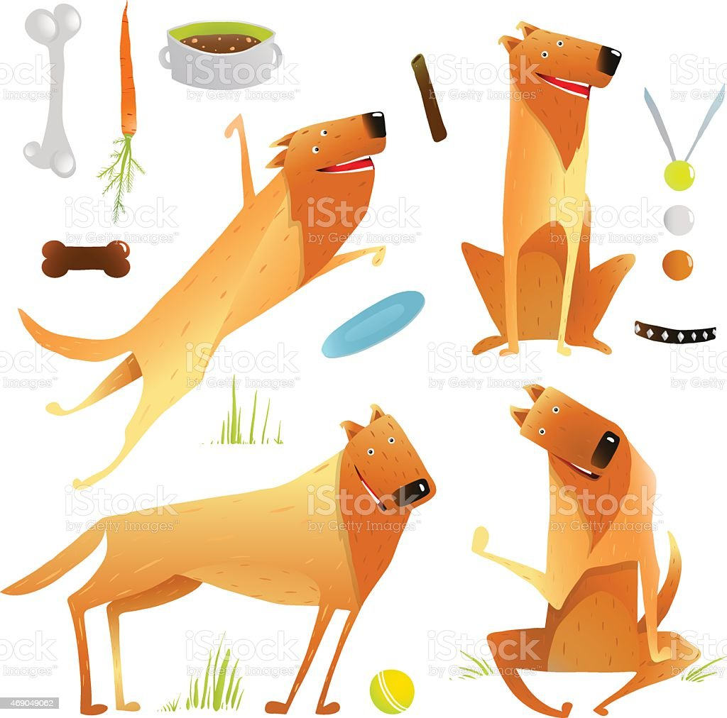 Funny Dogs Jumping Playing with Ball Sitting Winning Feeding Clip vector art illustration