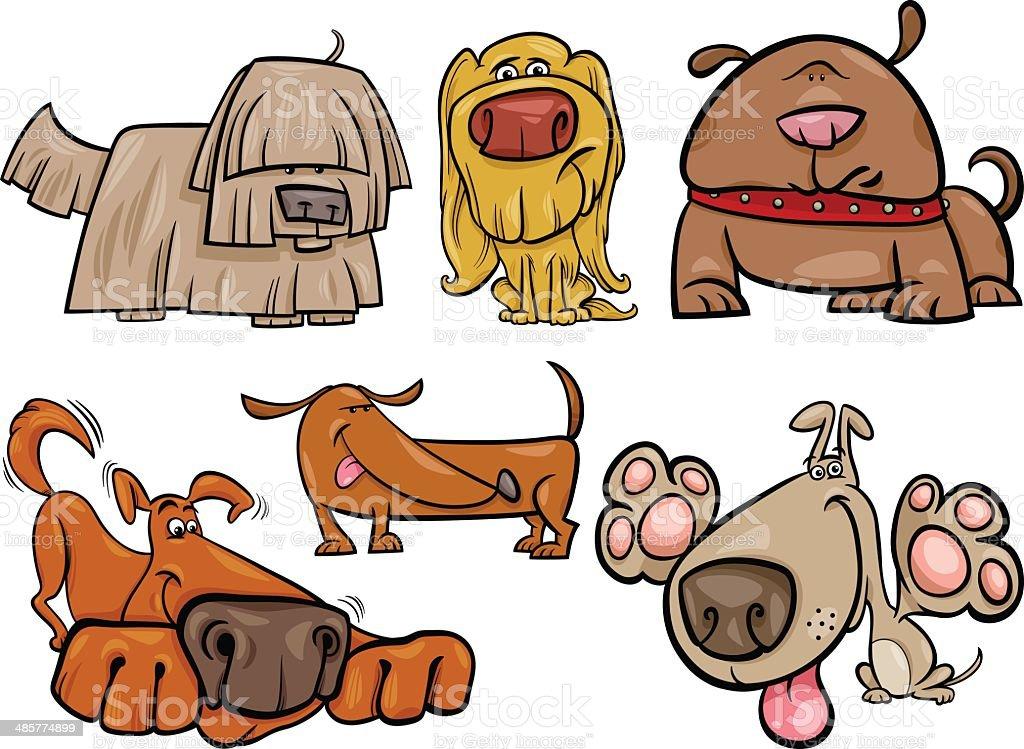 funny dogs set cartoon illustration vector art illustration