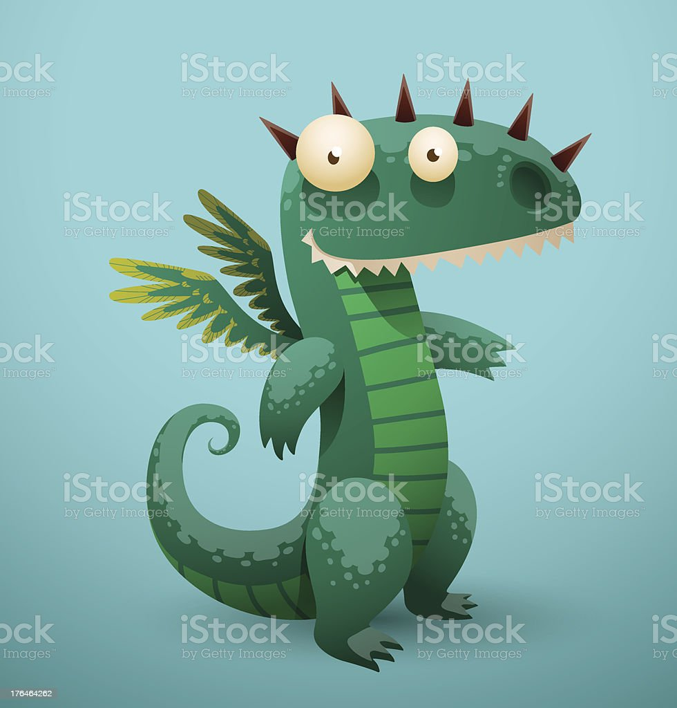 Funny dragon azure color royalty-free stock vector art