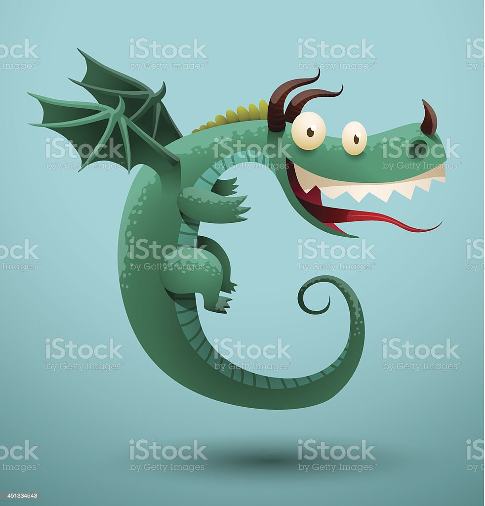 Funny dragon turquoise color vector art illustration