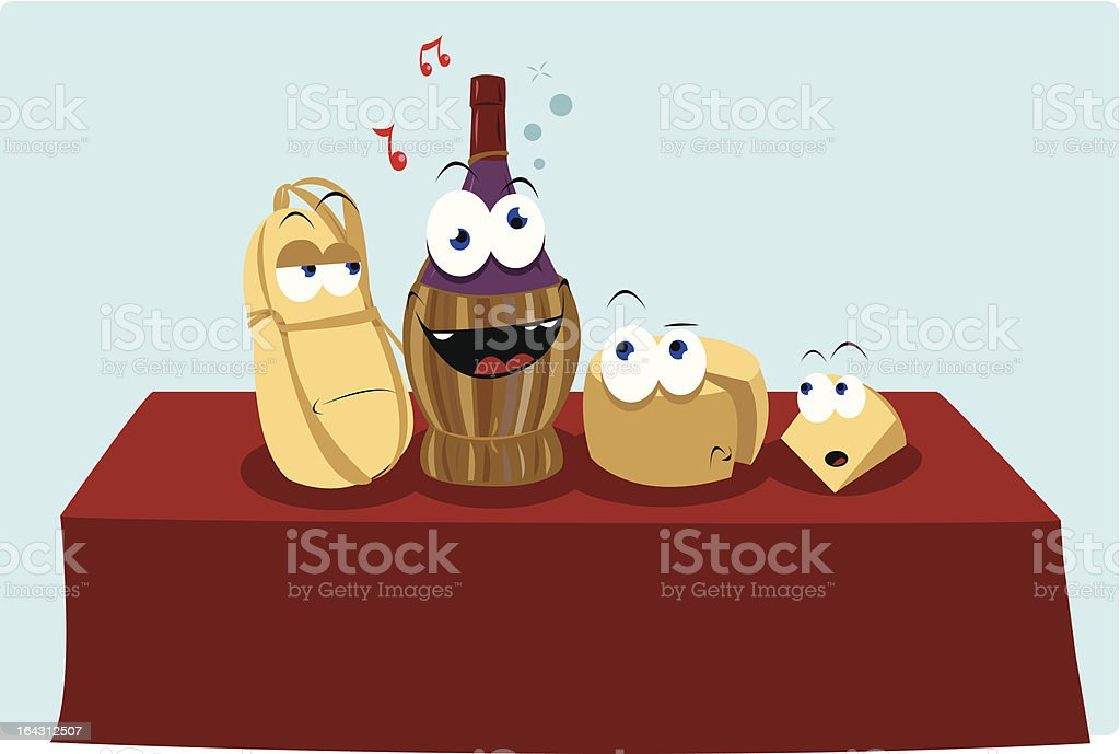 Funny Drunk Wine royalty-free stock vector art