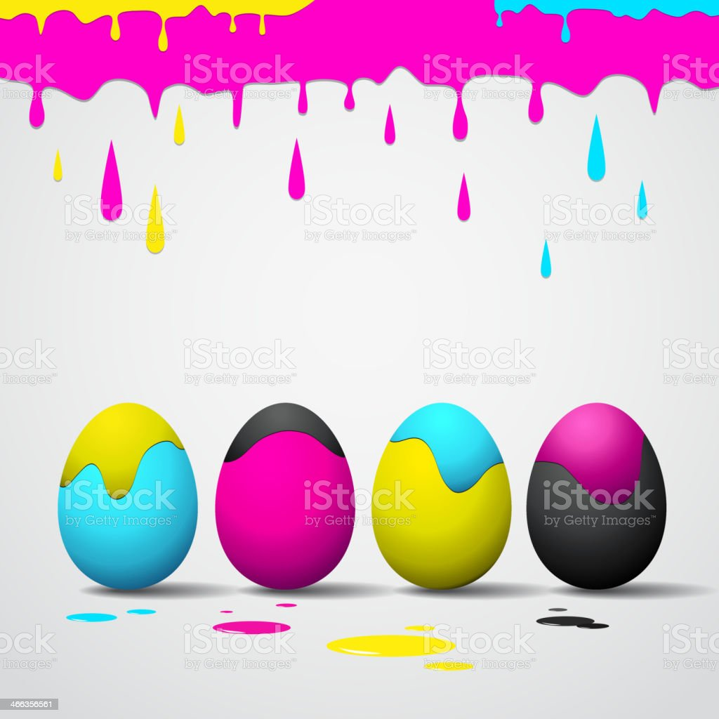 Funny Easter eggs - CMYK color theme royalty-free stock vector art