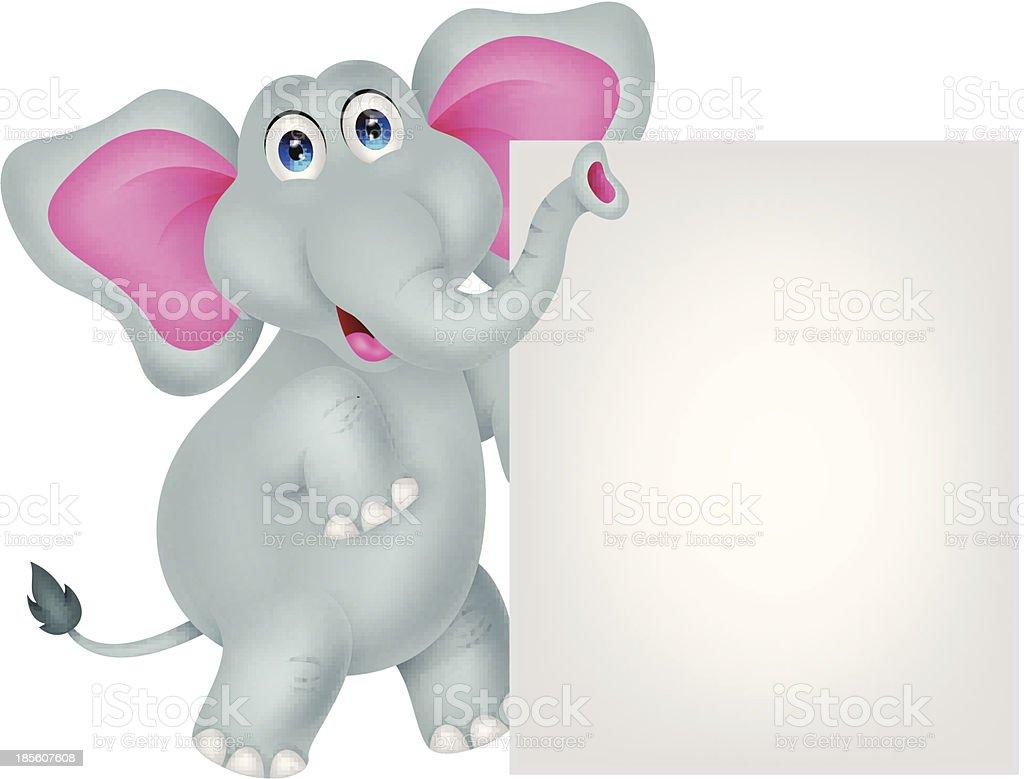 funny elephant cartoon with blank sign royalty-free stock vector art