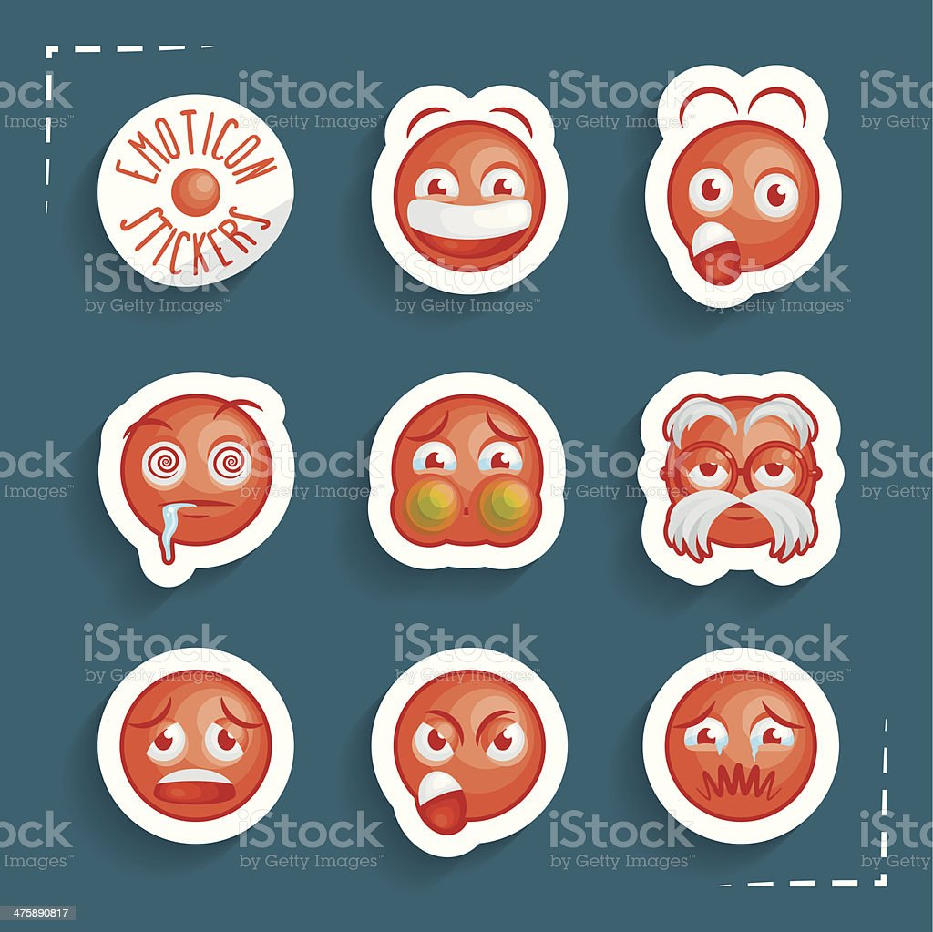 Funny Emoticon Stickers vector art illustration