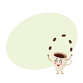 Funny energetic espresso cup character juggling coffee beans