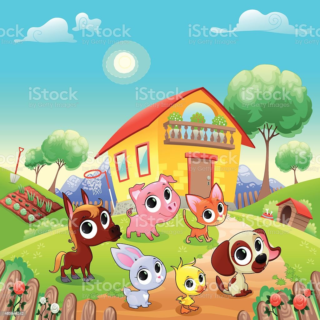 Funny farm animals in the garden vector art illustration