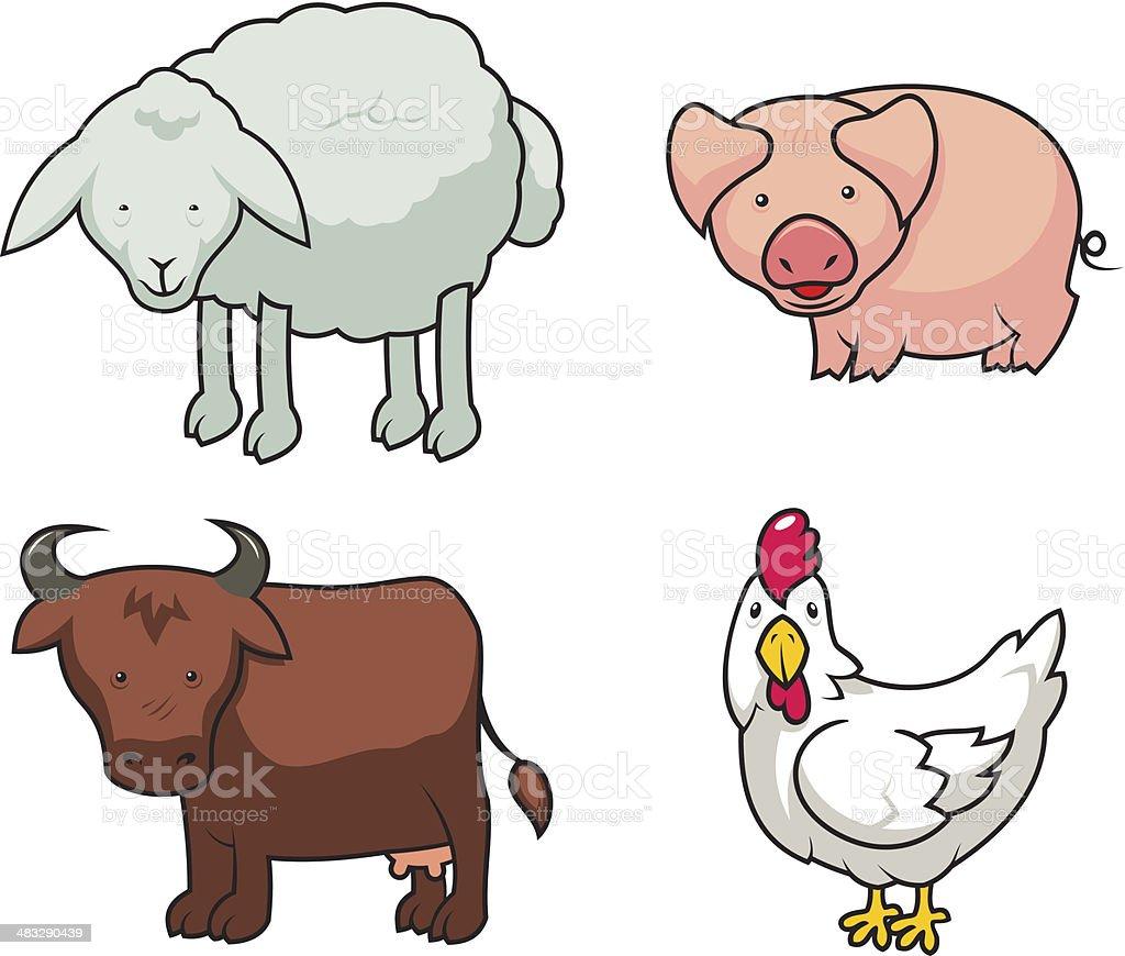 Funny farm animals set royalty-free stock vector art