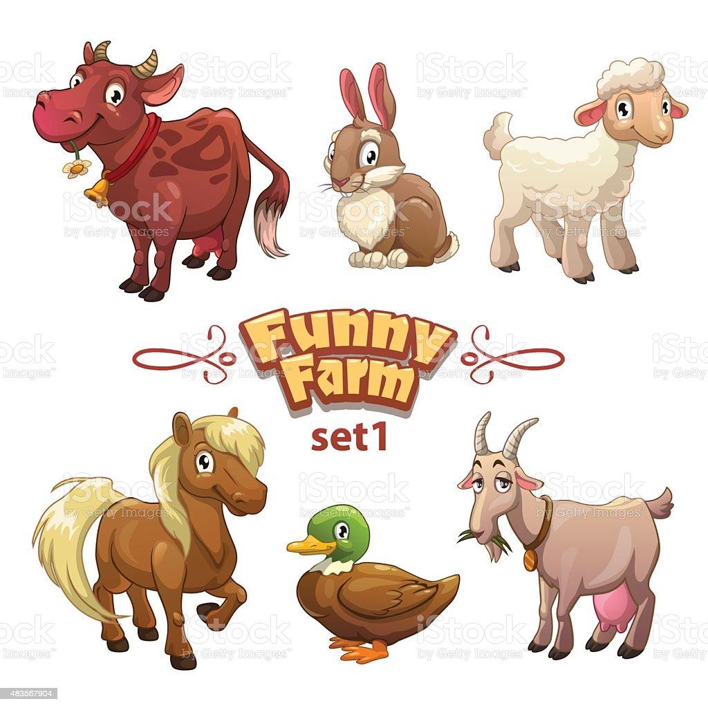 Funny farm illustration vector art illustration
