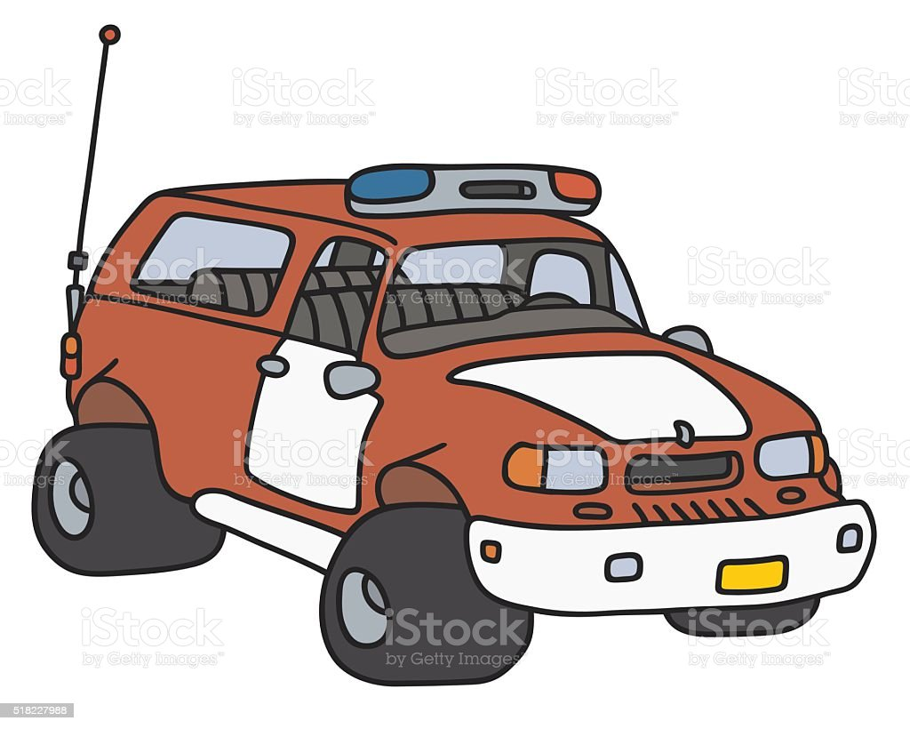 Funny fire patrol car vector art illustration