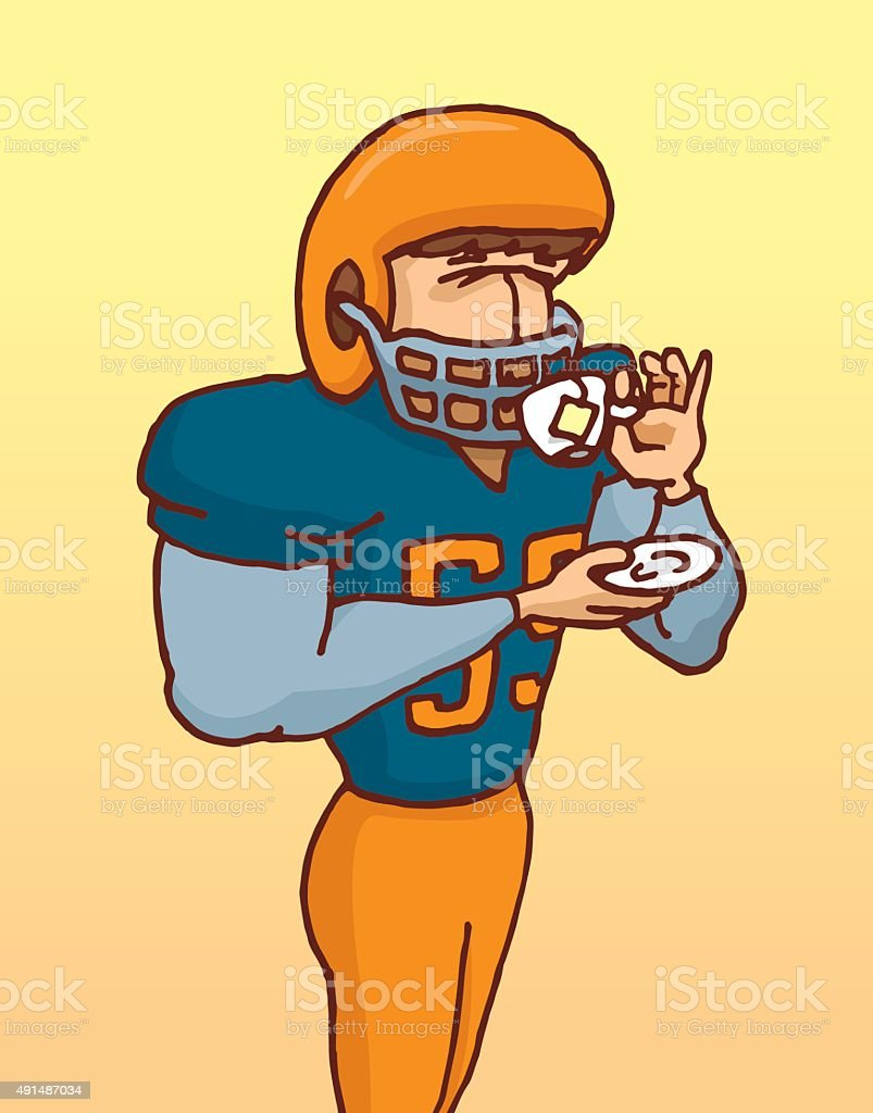 Funny football player in uniform drinking tea with delicacy vector art illustration