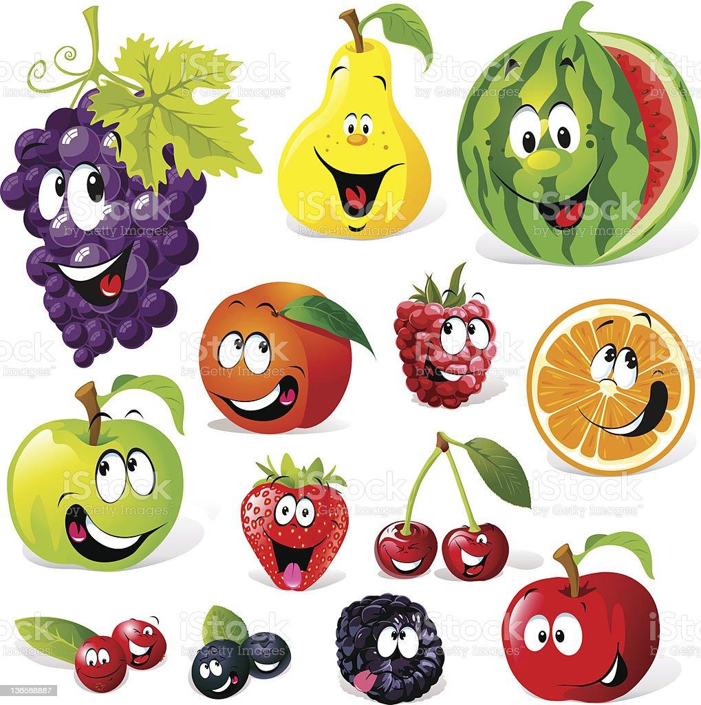 funny fruit cartoon vector art illustration