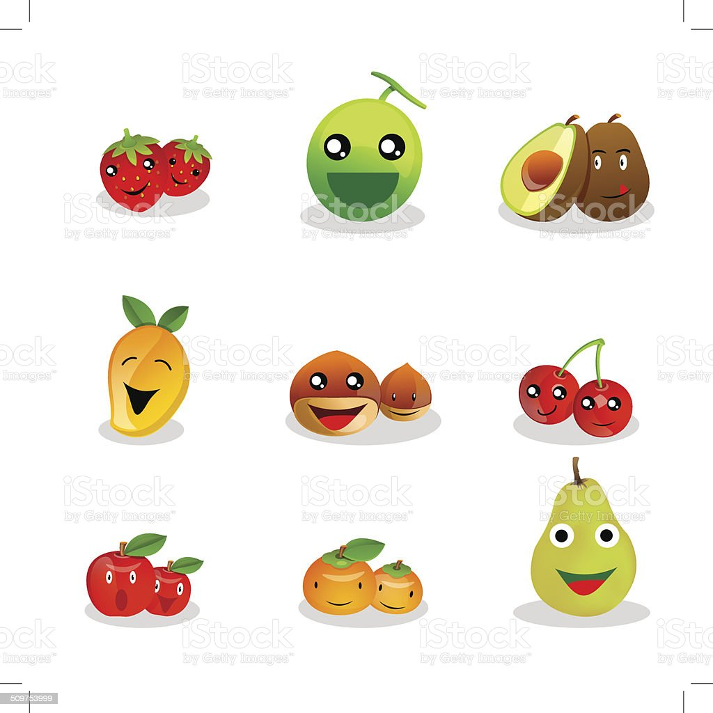 Funny Fruit Cartoon royalty-free stock vector art