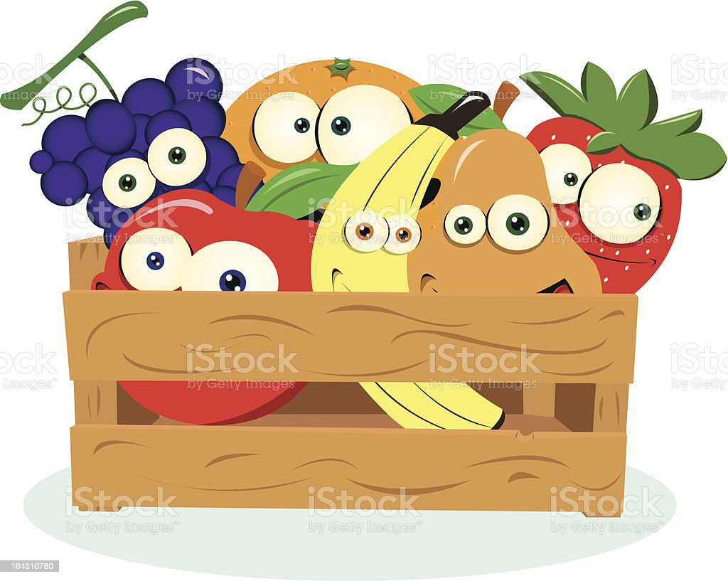 Funny Fruit in a Box royalty-free stock vector art