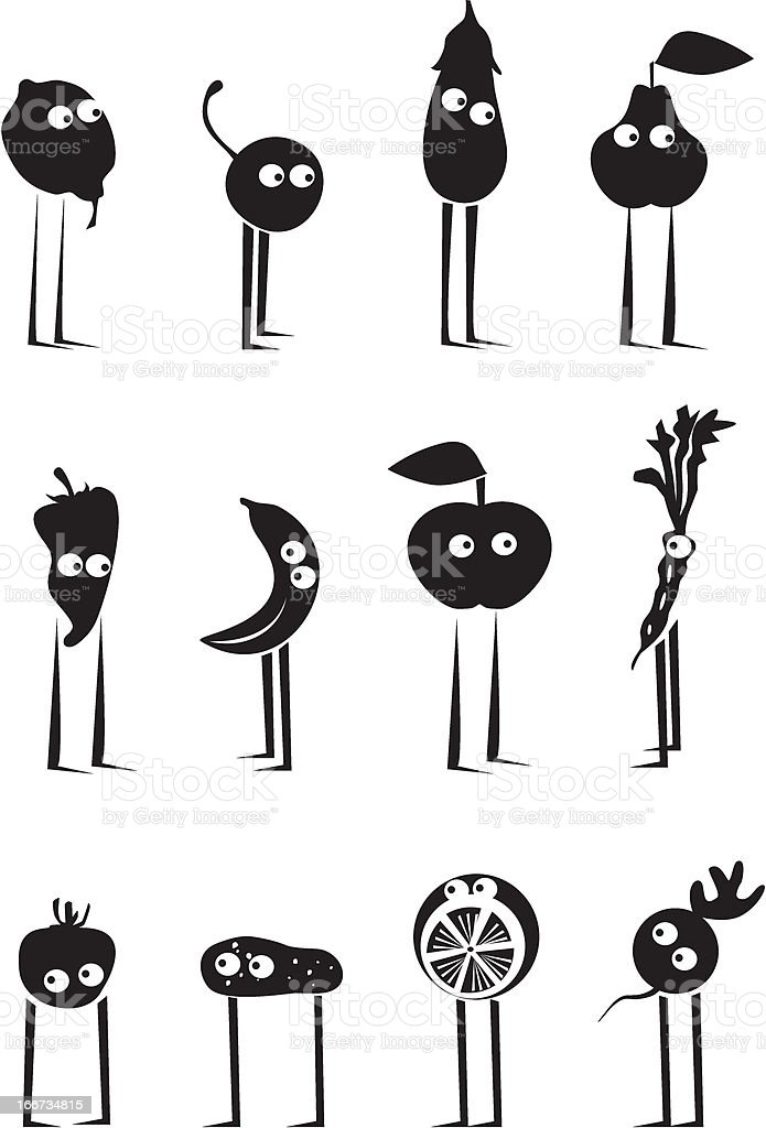 Funny fruits and vegetables royalty-free stock vector art
