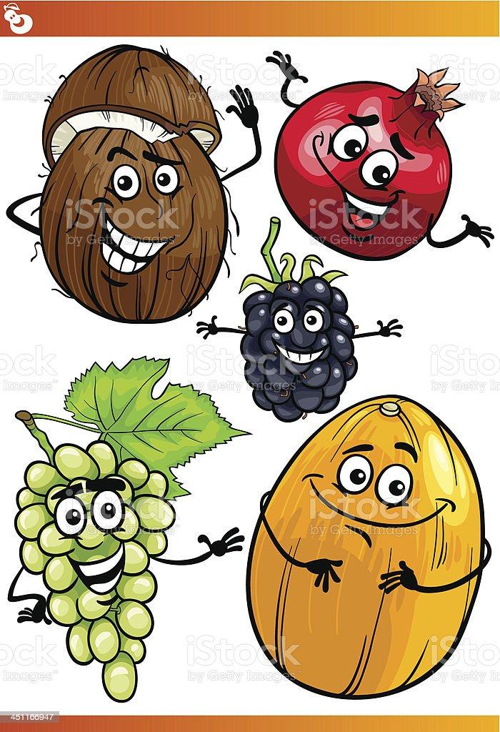 funny fruits cartoon illustration set royalty-free stock vector art