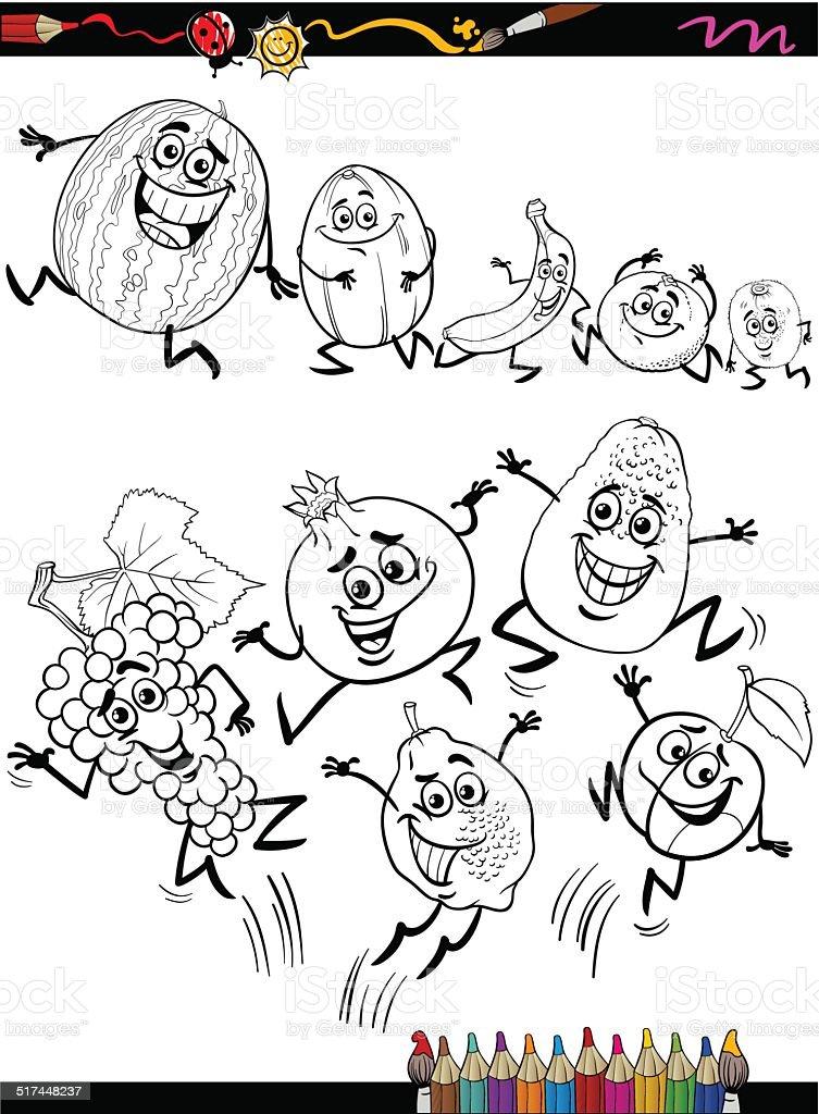 cahier de coloriage de dessin animé drôle de fruits en page stock