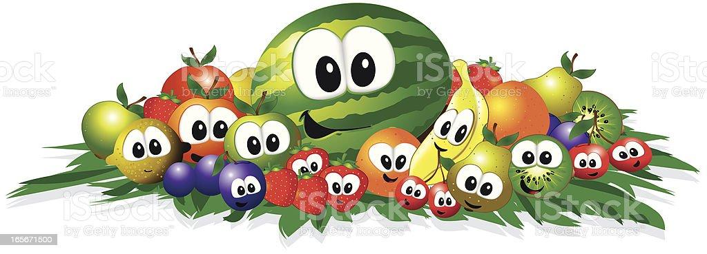 funny fruits vector art illustration