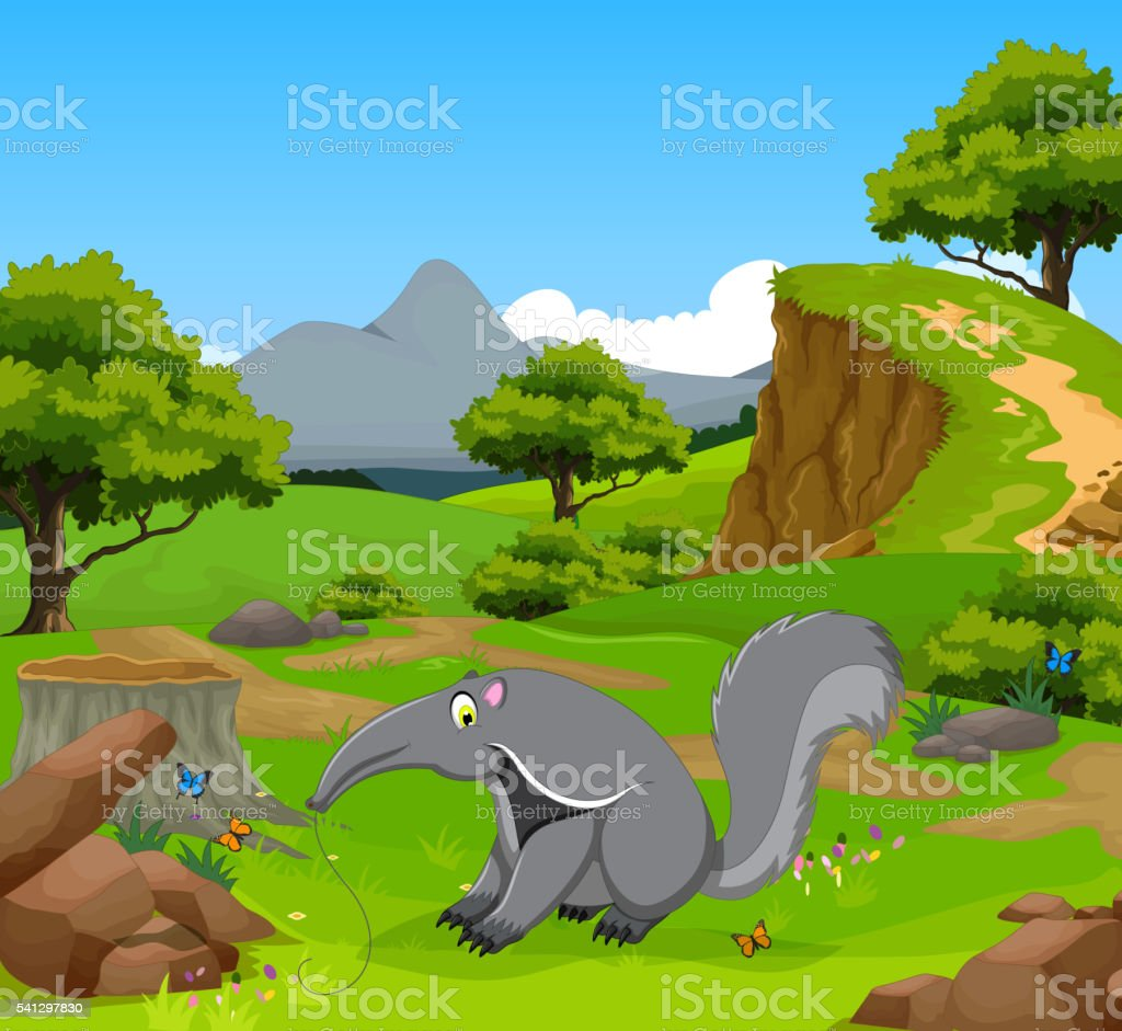 funny giant anteater cartoon with mountain cliff landscape
