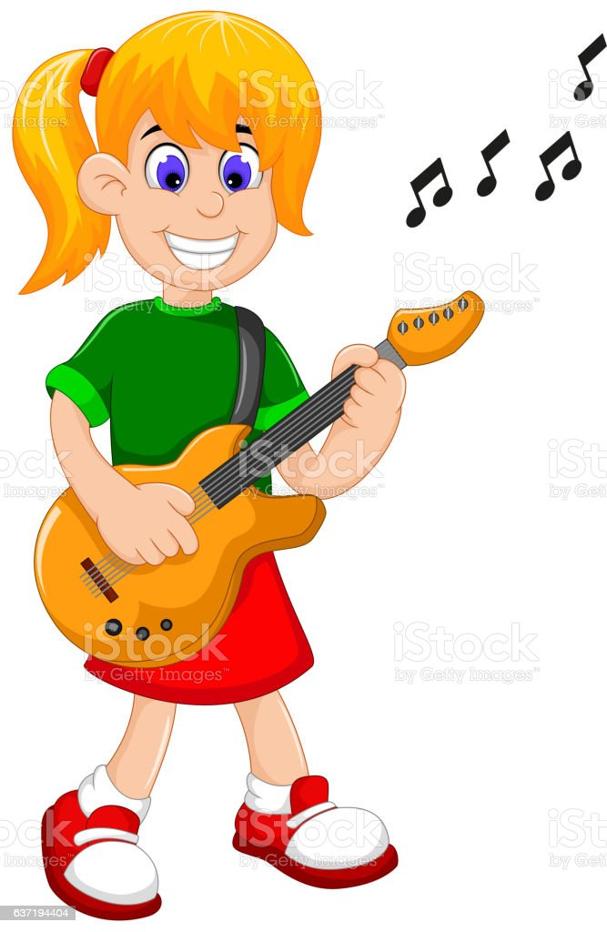funny girl cartoon playing guitar vector art illustration