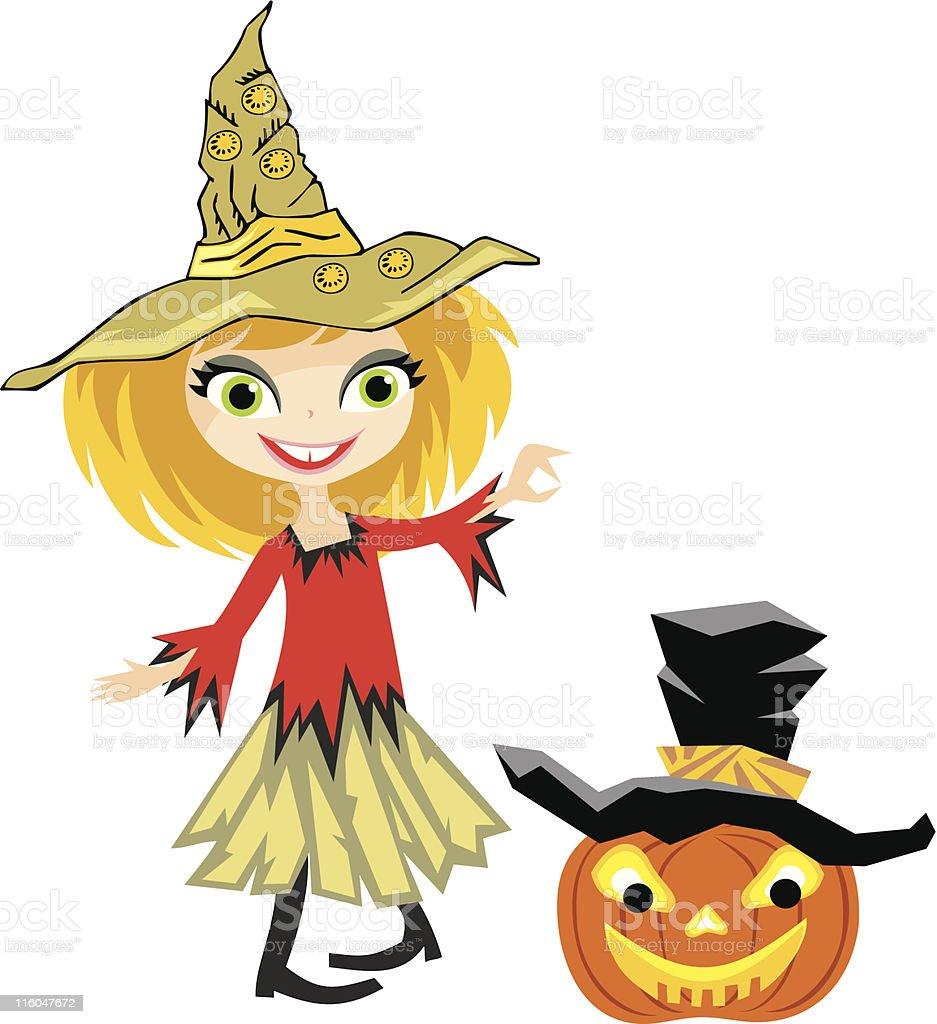 Funny girl in Halloween costume 2 royalty-free stock vector art