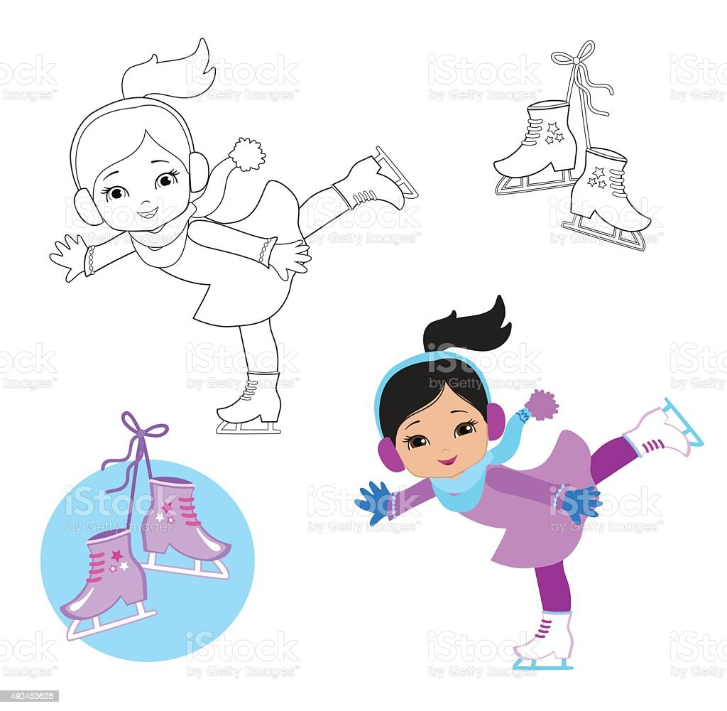 Funny girl in winter clothes on skates  on a white background. vector art illustration