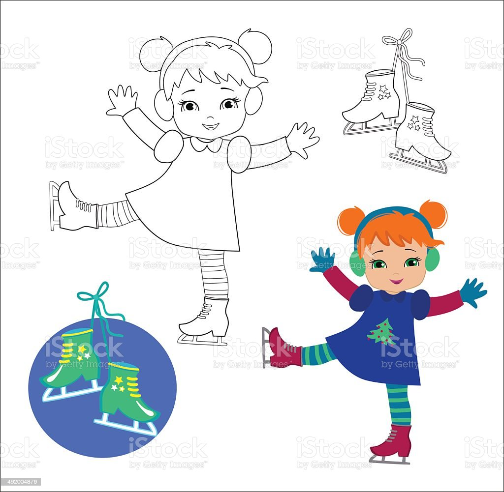 Funny girl in winter clothes on skates  on  white background. vector art illustration