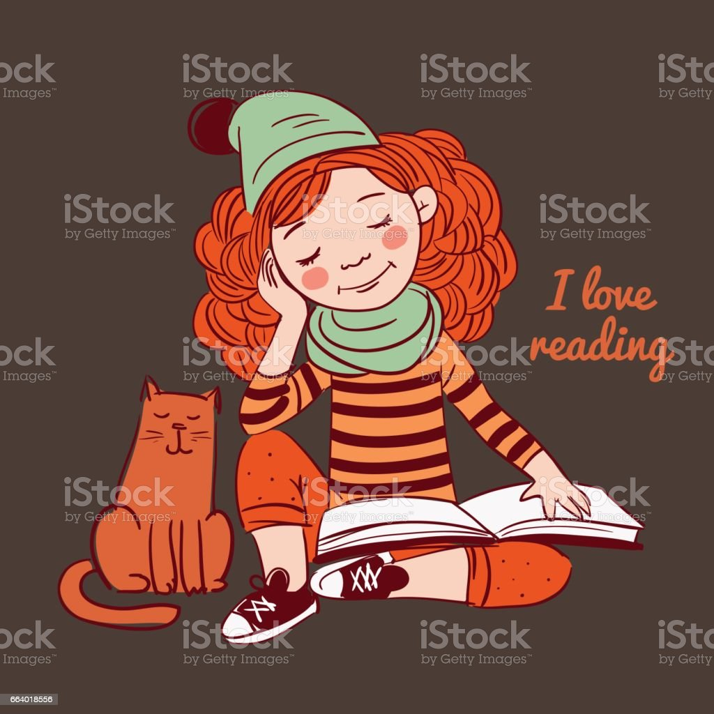 funny girl reads a book vector art illustration