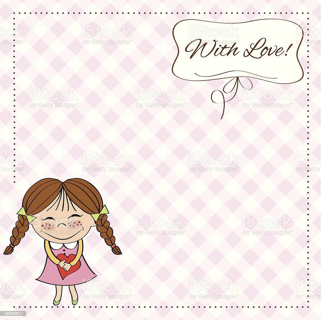 Funny girl with hearts. Doodle cartoon character. vector art illustration