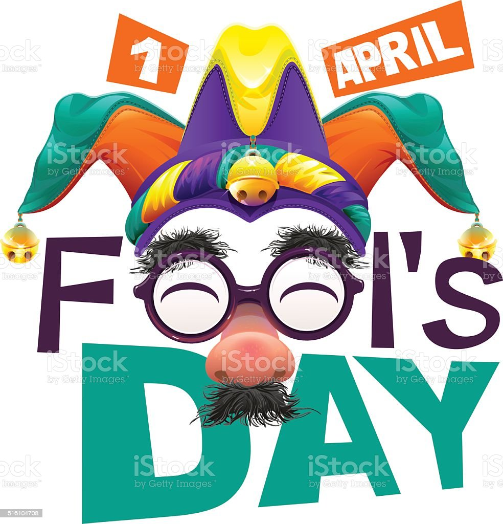 Funny glasses nose. April Fools Day lettering text for card vector art illustration