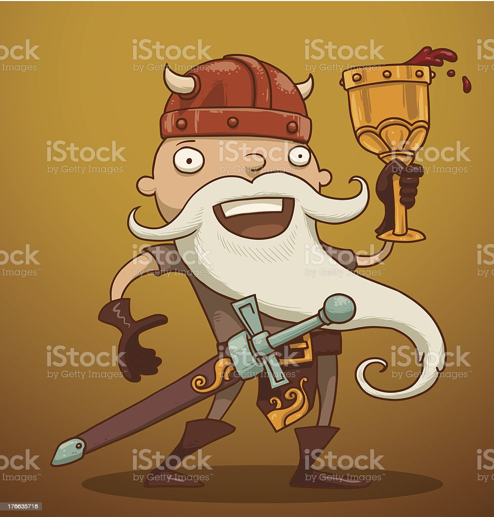 Funny gnome with a goblet of wine royalty-free stock vector art