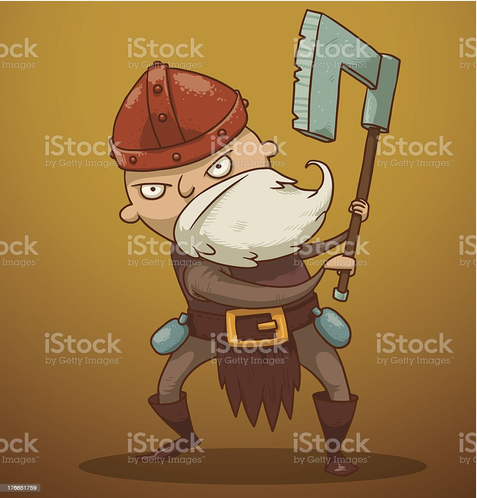 Funny gnome with ax vector art illustration
