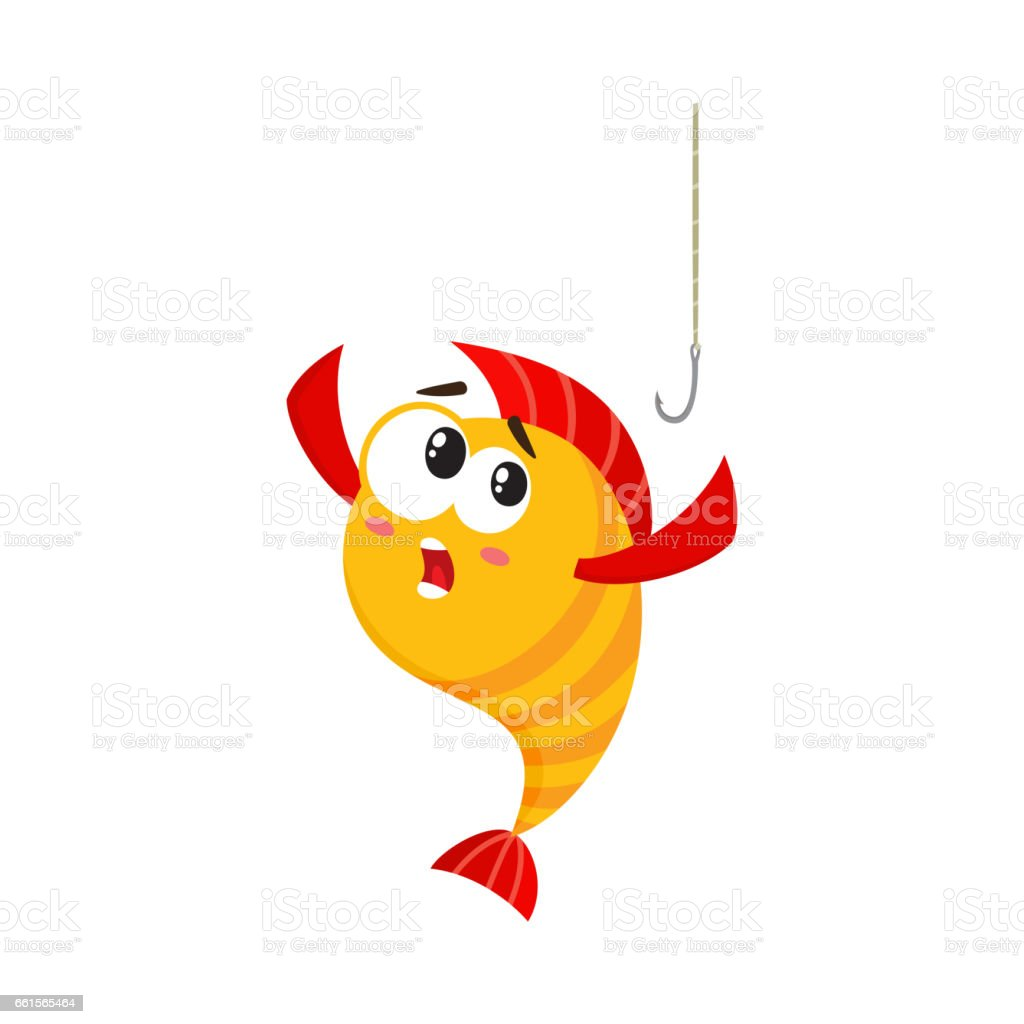 funny golden yellow fish character with human face scared of