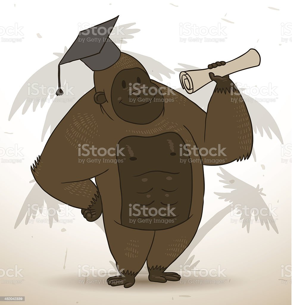 Funny gorilla in a square academic cap royalty-free stock vector art