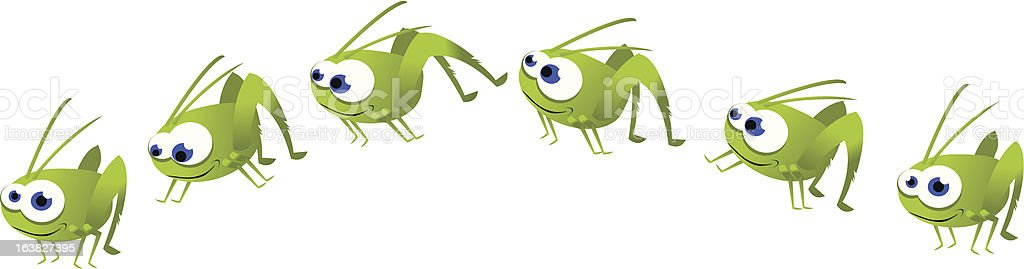 Funny Grasshopper Jumping vector art illustration