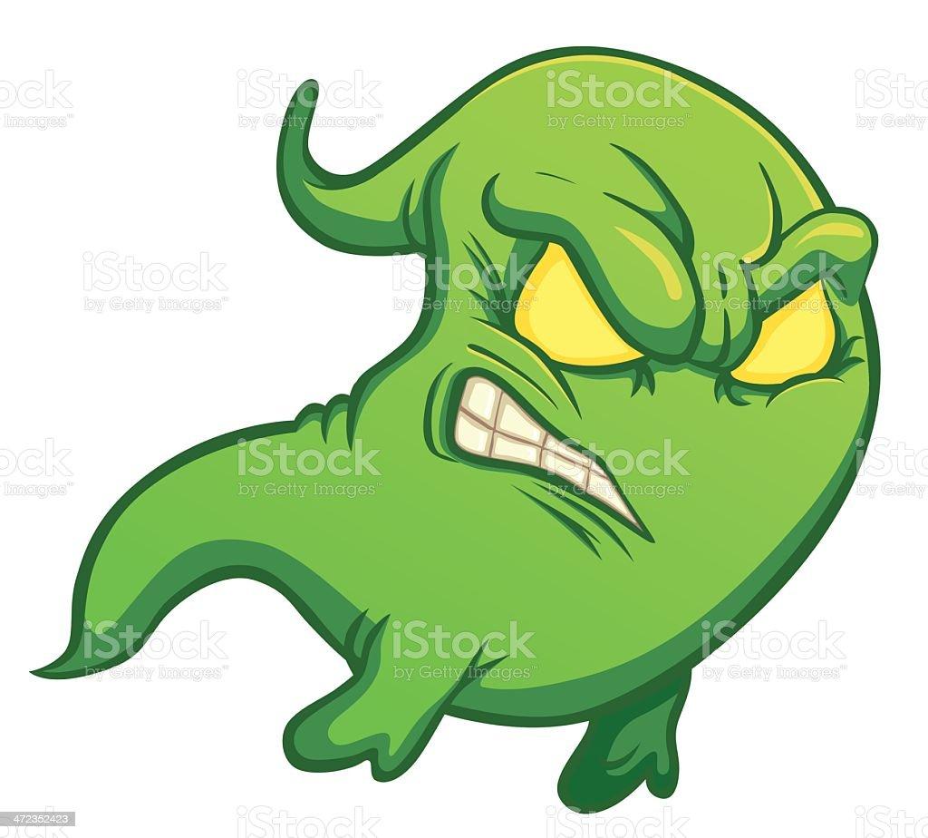 funny green cartoon ghost royalty-free stock vector art