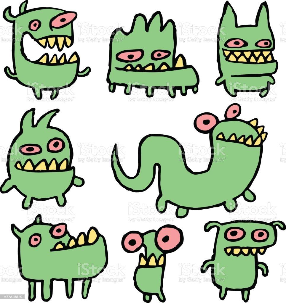 Funny Green Monsters in Different Shapes Vector Illustration. vector art illustration