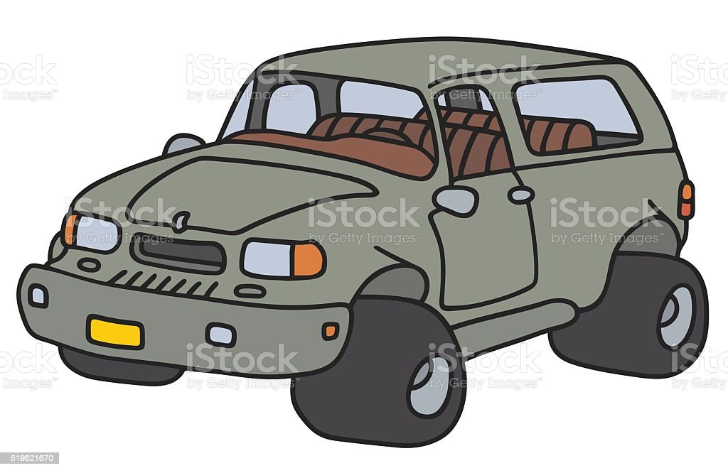 Funny green terrain car vector art illustration