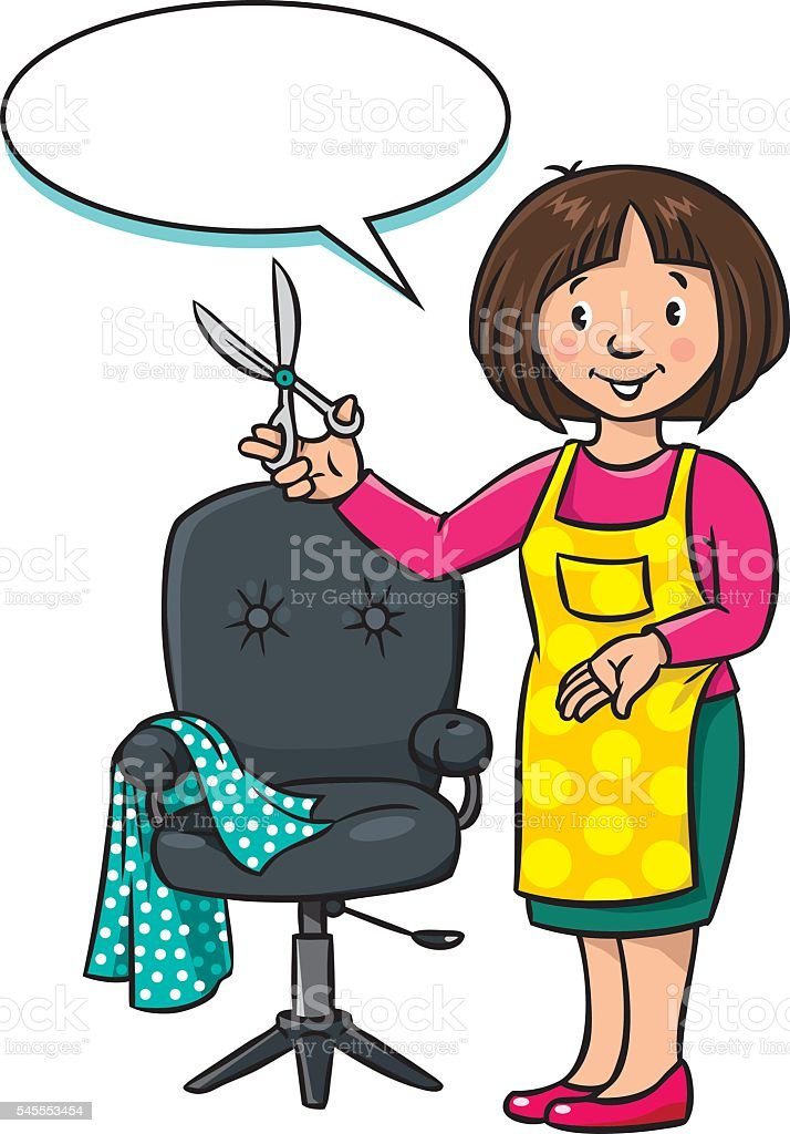 Funny hairdresser or barber. Profession ABC series vector art illustration